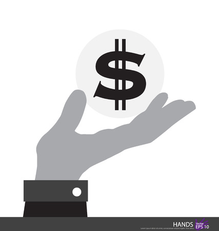 Dollar sign in hand. Vector illustration. Vector