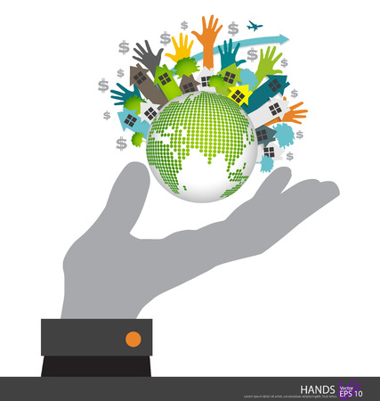 leasing: Hand holding the Earth. Vector illustration.