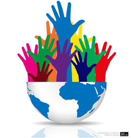 participate: Colorful raised hands and globe. Vector illustration. Illustration