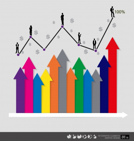 Modern design graph. Business graph to success, can use for business concept. Vector illustration. Vector