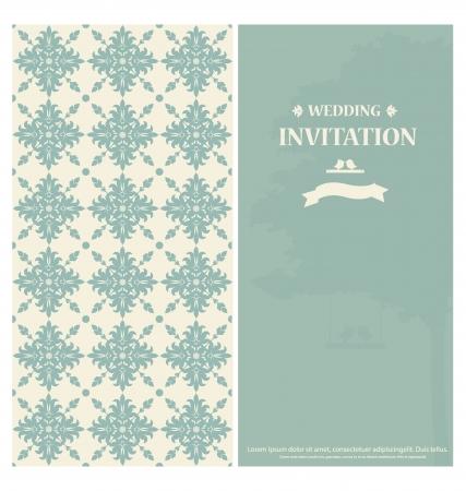 Ślub karta zaproszenie z rocznika tle kwiatów. Ilustracji wektorowych.