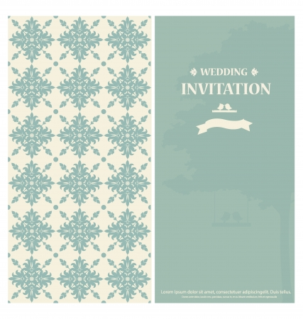 Wedding invitation card with vintage floral background. Vector illustration.