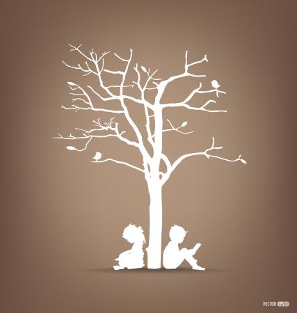Tło wektor z dziećmi czytać książki pod drzewem. Ilustracji wektorowych. Ilustracja