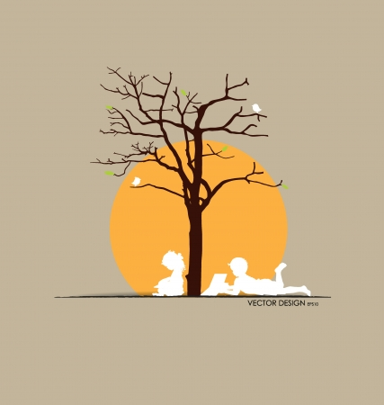 hand holding paper: Vector background with children read a book under tree. Vector Illustration.