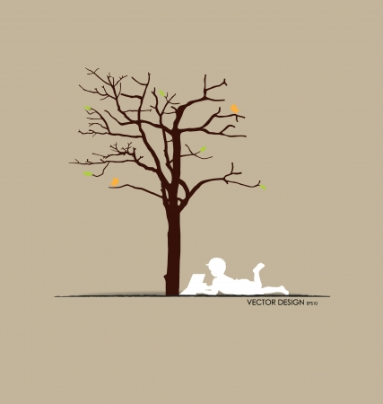 Vector background with children read a book under tree. Vector Illustration. Vector