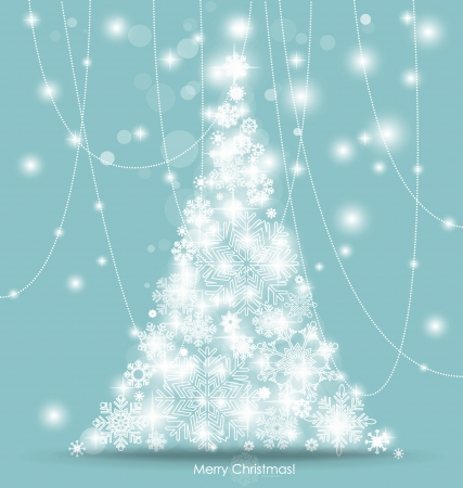 happy new year card: Christmas tree. Vector illustration.