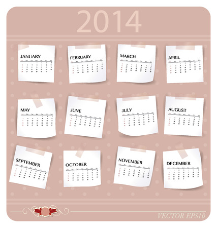 event planner: Simple 2014 year calendar, vector illustration.