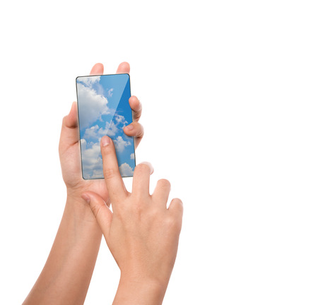 touch screen phone: Hand hold cloud computing touch screen mobile phone