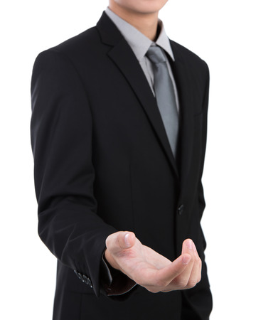 manos abiertas: Abrir la mano del hombre de negocios contra el fondo blanco Foto de archivo