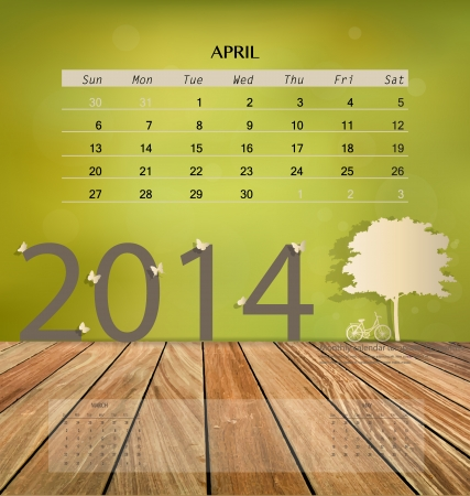 2014 calendar, monthly calendar template for April. Vector illustration. Vector