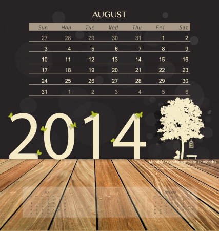 schedule appointment: 2014 calendar, monthly calendar template for August. Vector illustration.