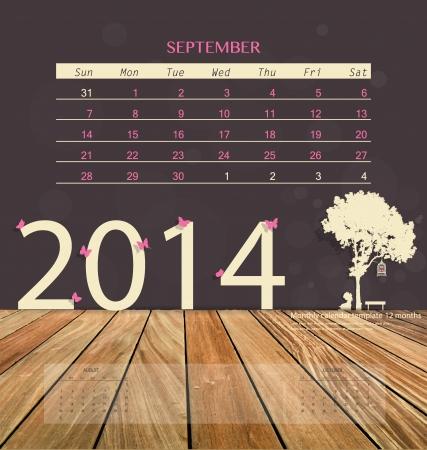 2014 calendar, monthly calendar template for September. Vector illustration. Vector