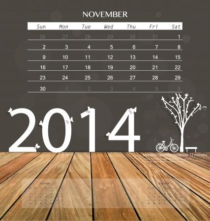 2014 calendar, monthly calendar template for November. Vector illustration. Vector