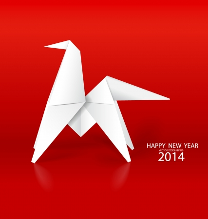 2014 Happy New Year greeting card, origami paper horse design. Vector illustration. Vector