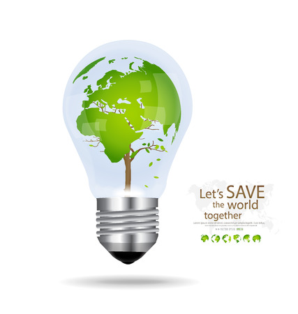 Save the world, Light bulb with tree shaped world map inside. Vector illustration. Vector