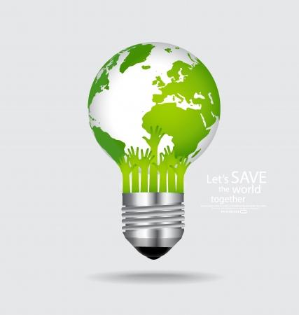 biological waste: Salvar el mundo, la bombilla con el globo en el interior. Ilustraci�n del vector. Vectores
