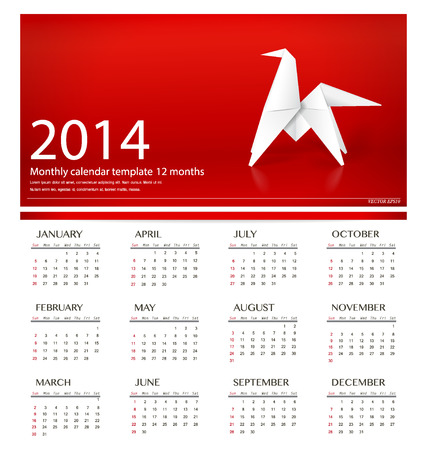 2014 calendar, origami paper horse design. Vector illustration.