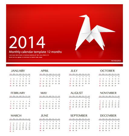 2014 kalendarz, projekt papieru origami konia. Ilustracji wektorowych. Ilustracja