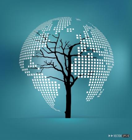 sea pollution: Tree shaped world map. Vector illustration. Illustration