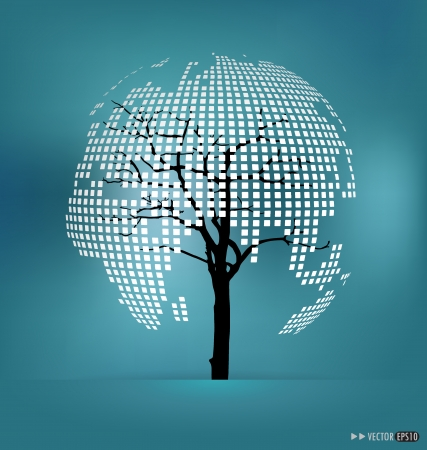 Tree shaped world map. Vector illustration. Vector