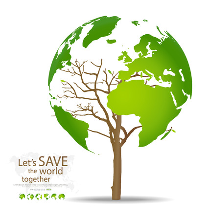 전세계에: 나무는 세계지도 모양. 벡터 일러스트 레이 션. 일러스트