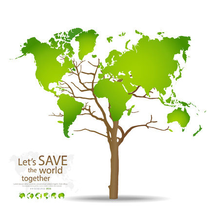 save earth: Tree shaped world map. Vector illustration. Illustration