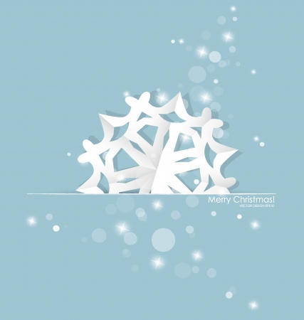 Vintage Christmas postcard with origami snowflake, vector illustration. Vector