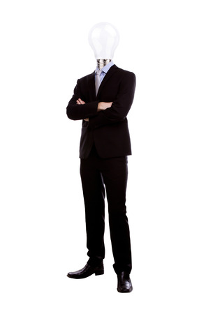 business men: Businessman with lamp head have got an idea on white background Stock Photo