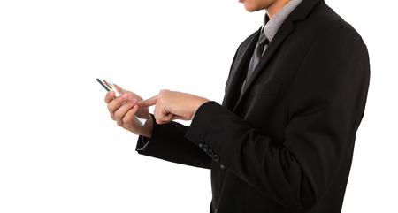 Business man holding glass transparent mobile, smart phone photo