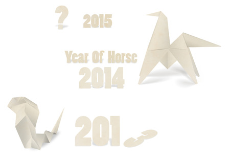 snake origami: New year 2014 origami paper horse Stock Photo