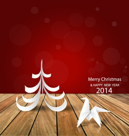 2014 Happy New Year greeting card, origami paper horse and christmas tree design. Vector illustration. Vector