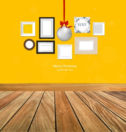 Christmas ball and picture frames, photo art gallery on yellow wall.  Vector