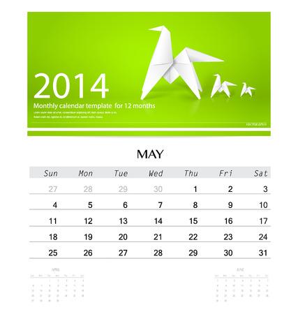 2014 Calendar Monthly Calendar Template For February Origami