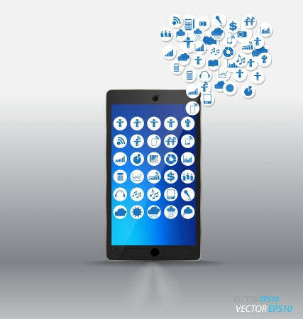 Touchscreen device with cloud of colorful application. Vector illustration. Illustration
