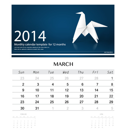 2014 calendar, monthly calendar template for March (Origami paper horse design). Vector illustration. Vector
