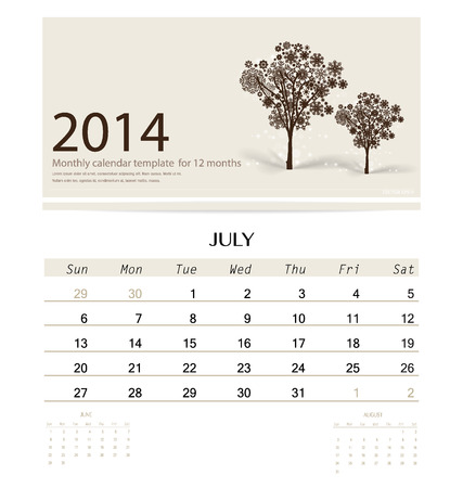 christmas in july: 2014 calendar, monthly calendar template for July (Christmas tree design). Vector illustration. Illustration