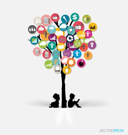 Drzewo z chmurą kolorowe aplikacji. Ilustracji wektorowych. Ilustracja