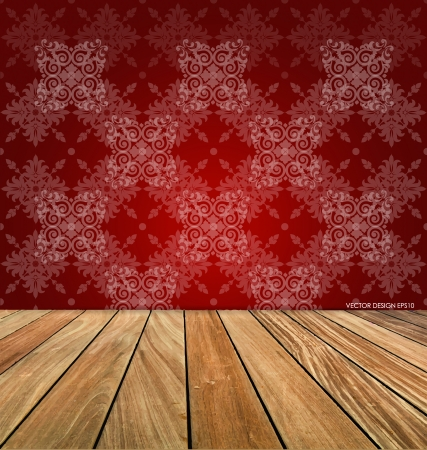 wooden floors: Room with wooden floors and vintage wallpaper. Vector illustration.