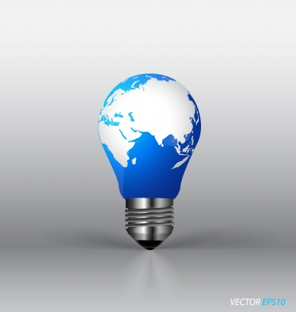 A light bulb with modern globe. Vector illustration. Vector