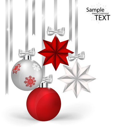 Christmas decorations with ribbon and bow Illustration