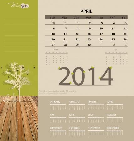 4월: 2014 calendar, monthly calendar template for April. Vector illustration.