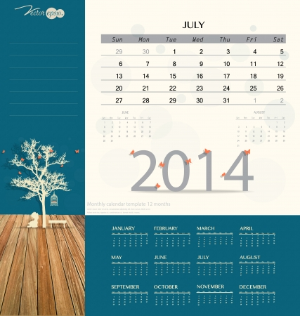 2014 calendar, monthly calendar template for July. Vector illustration. Vector