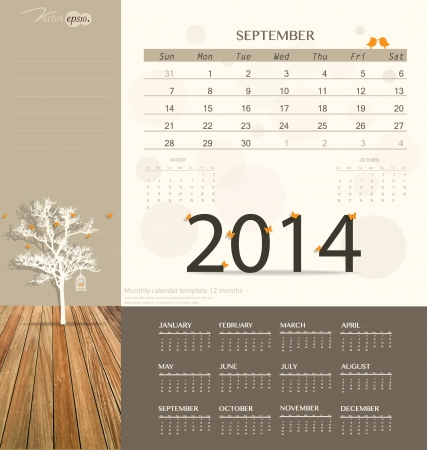 2014 calendar, monthly calendar template for September. Vector illustration. Vector