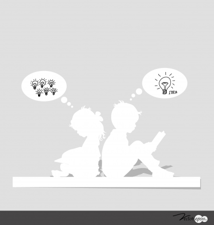 Thinking child. Vector illustration. Vector