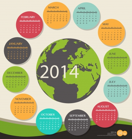 2014 year calendar, vector illustration. Vector