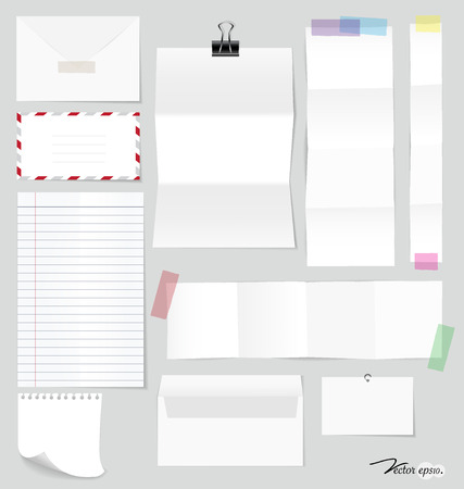 sticky note: Collection of various note papers, ready for your message. Vector illustration.