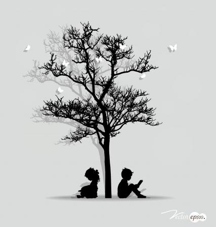 Vector background with children under tree. Vector Illustration. Vector