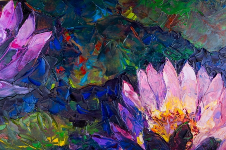 water lilly: Oil painting of beautiful lotus flower
