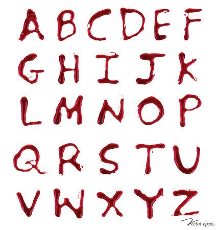 文字 A ~ Z 血と滴る。ベクトル イラスト。  イラスト・ベクター素材