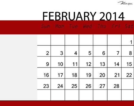 Simple 2014 calendar, February. Vector illustration. Vector